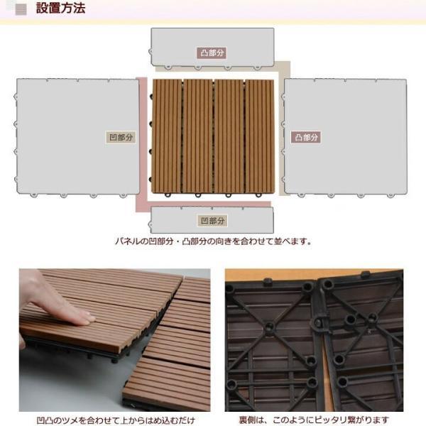 ウッドパネル ウッドデッキ ウッドデッキパネル 人工木 樹脂 (108枚セット) ダークブラウン クレアーレST2 デッキパネル ウッドタイル|1128|13