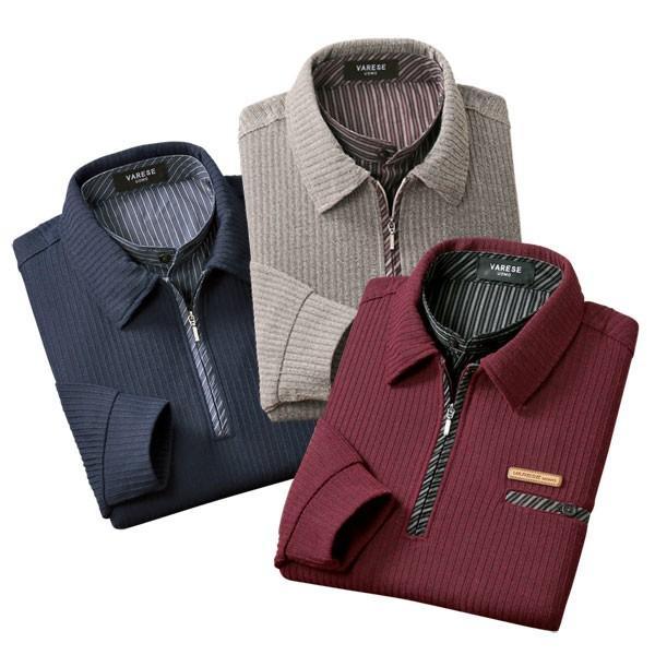 ミックス調デザイン衿ポロシャツ 3色組 左胸ポケット 2重襟 重ね着風 秋冬春 40代 50代 60代 957596