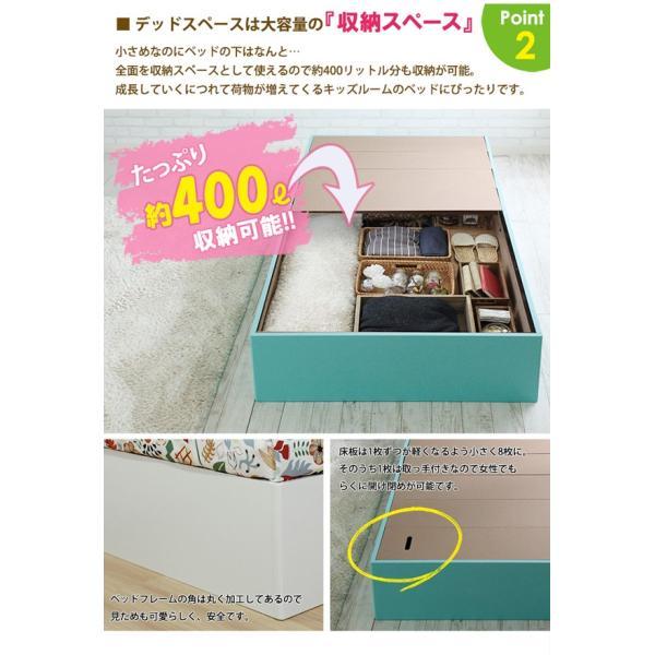 ベッドフレーム シングル コンパクトサイズ カラフルマカロンカラー パステル調 子どもベッド 床下収納400L puppy パピー JXBF4438PBW-SI|1147kodawaru|02