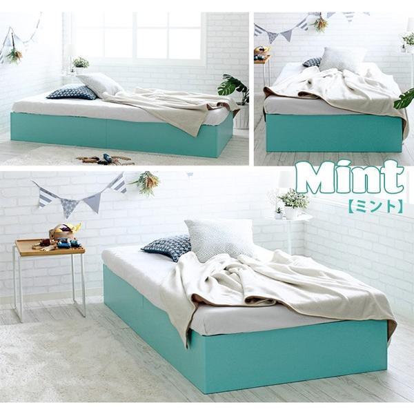 ベッドフレーム シングル コンパクトサイズ カラフルマカロンカラー パステル調 子どもベッド 床下収納400L puppy パピー JXBF4438PBW-SI|1147kodawaru|04