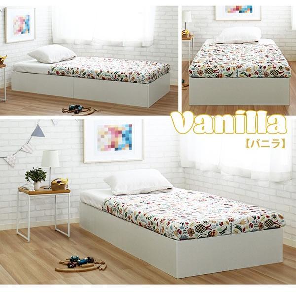 ベッドフレーム シングル コンパクトサイズ カラフルマカロンカラー パステル調 子どもベッド 床下収納400L puppy パピー JXBF4438PBW-SI|1147kodawaru|06