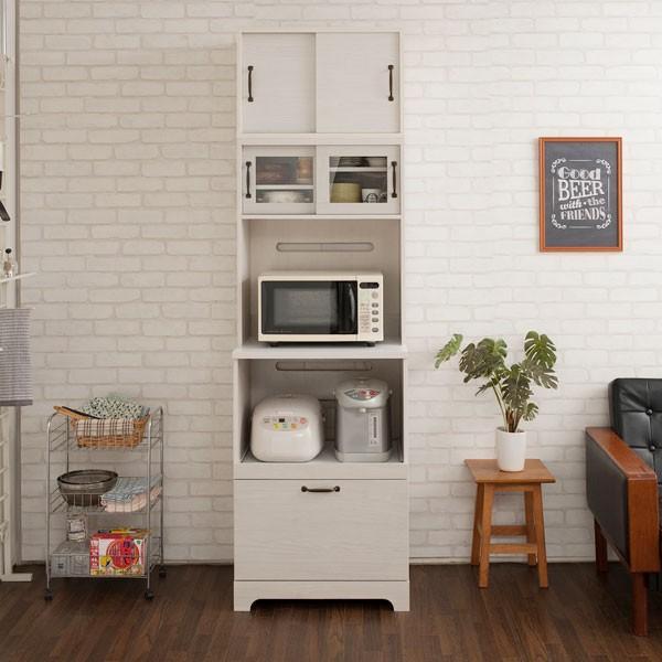 キッチンボード 上置き付 食器棚 レンジ台 カップボード 家電収納 キッチン収納 幅60cm 北欧 フレンチカントリー Late ラテ ホワイト KT26-013WH-NS|1147kodawaru|04