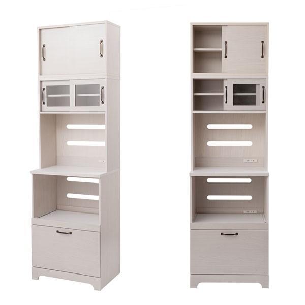 キッチンボード 上置き付 食器棚 レンジ台 カップボード 家電収納 キッチン収納 幅60cm 北欧 フレンチカントリー Late ラテ ホワイト KT26-013WH-NS|1147kodawaru|05