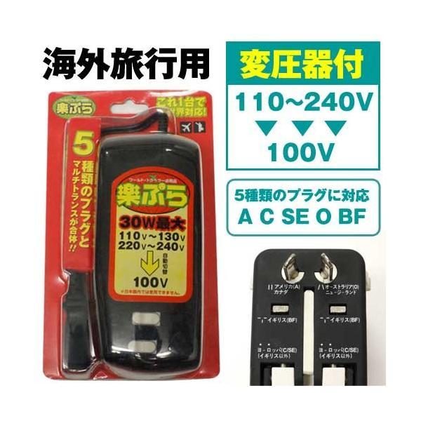 海外 変圧器 電源プラグ 変換プラグ 変換アダプタ 楽ぷら RX-30 海外旅行用 変圧器機能