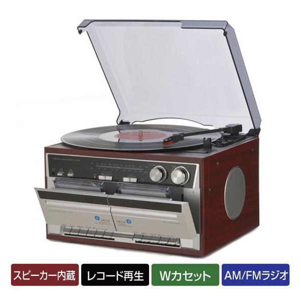 ダブルカセット レコードプレーヤー 木目調 AM/FMラジオ カセットテープレコーダー ダビング TT-386W|1147kodawaru