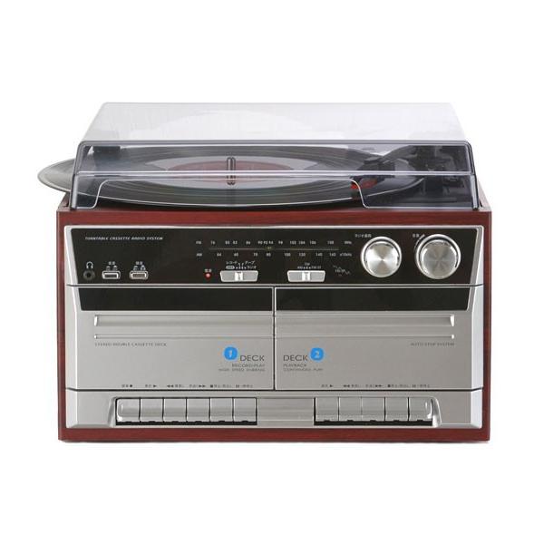 ダブルカセット レコードプレーヤー 木目調 AM/FMラジオ カセットテープレコーダー ダビング TT-386W|1147kodawaru|03