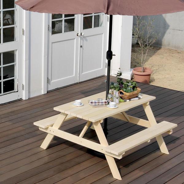 ピクニックテーブル 木製 幅135cm イエローシダー チェア一体型 ガーデンテーブル パラソル対応 YCPT-1350NTU