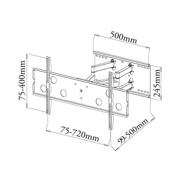 テレビ台 壁掛け 金具 37型 65型 上下15度、左右最大45度角度調節可能PLB-137MS 汎用薄型・液晶テレビ シルバー|11myroom|02