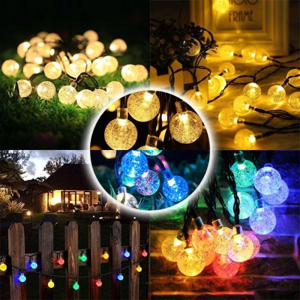 LED30球 6m led イルミネーションライト ガーデンライト ソーラー クリスマス イルミネーション 屋外 防水  光センサー内蔵 自動ON/OFF 8種類点灯パターン|11oclock|13