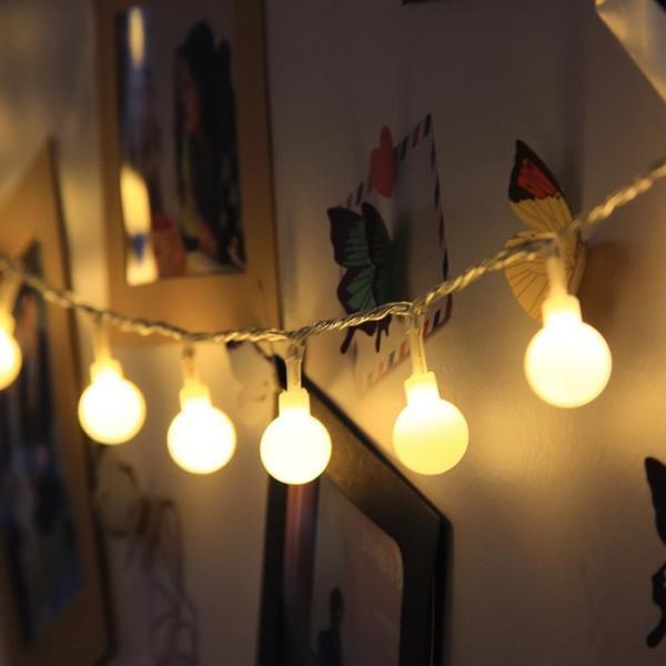 ストリングライト  LEDイルミネーションライト 飾り 多色 屋内/屋外/パーティー装飾 8モード16フィート5Mグローブ50LED|11oclock|03