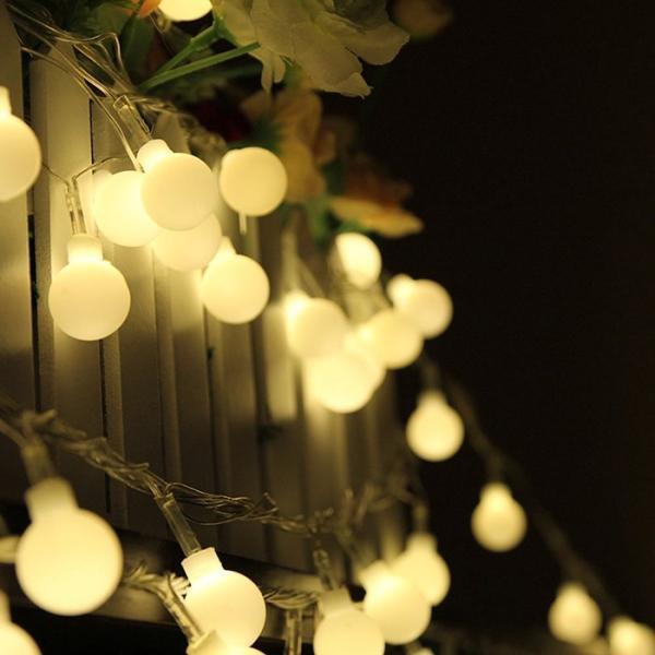 ストリングライト  LEDイルミネーションライト 飾り 多色 屋内/屋外/パーティー装飾 8モード16フィート5Mグローブ50LED|11oclock|05