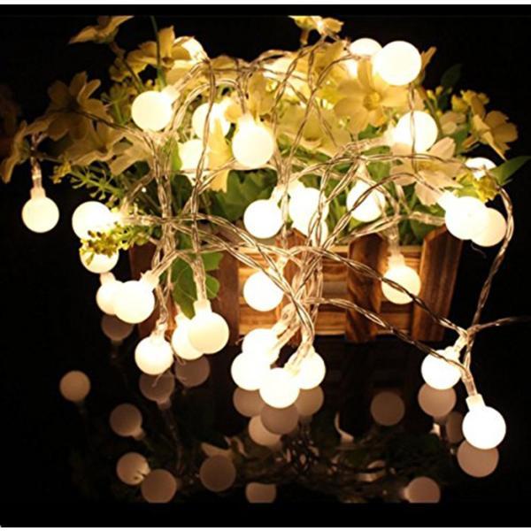 ストリングライト  LEDイルミネーションライト 飾り 多色 屋内/屋外/パーティー装飾 8モード16フィート5Mグローブ50LED|11oclock|08