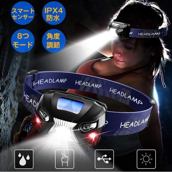 ヘッドライト LEDヘッドランプ USBアウトドアライト 4モード 軽量 センサー機能 充電式 高輝度 角度調節可能 ハイキング/夜釣り/作業/自転車に