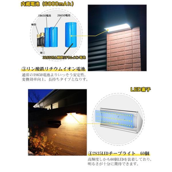 ソーラーライト センサーライト 高輝度 人感センサー搭載 ソーラー充電式ライト 屋外/玄関/芝生/車道/ガーデン/庭などに照明用 防水防犯 60LED|11oclock|04