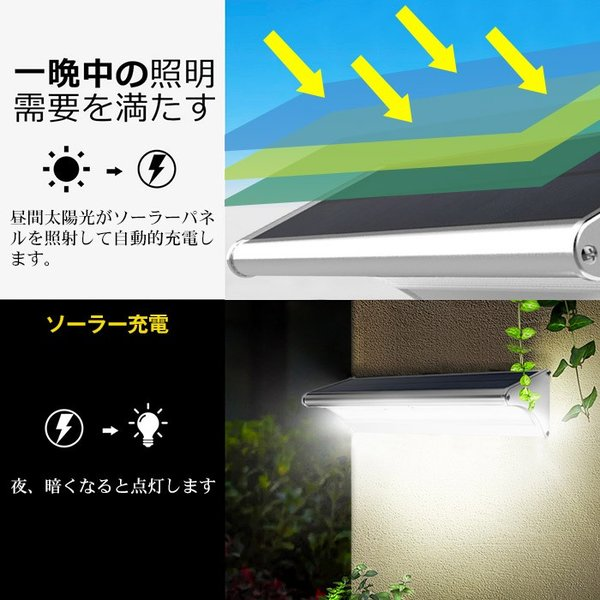 ソーラーライト センサーライト 高輝度 人感センサー搭載 ソーラー充電式ライト 屋外/玄関/芝生/車道/ガーデン/庭などに照明用 防水防犯 60LED|11oclock|05
