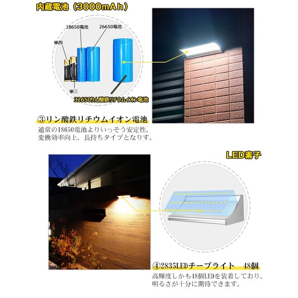 48個LED ソーラーライト 900lm マイクロ波人感センサー搭載 4種照明モード 防水防犯 屋外/玄関/芝生/車道/ガーデン/庭などに照明用|11oclock|04