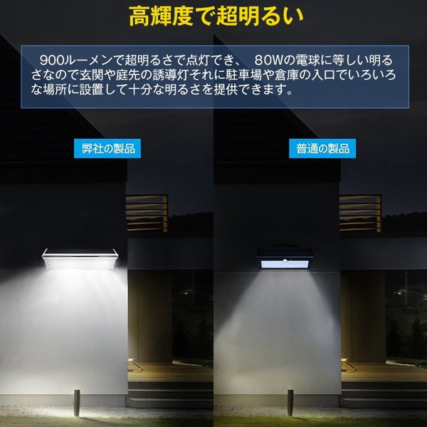 48個LED ソーラーライト 900lm マイクロ波人感センサー搭載 4種照明モード 防水防犯 屋外/玄関/芝生/車道/ガーデン/庭などに照明用|11oclock|07