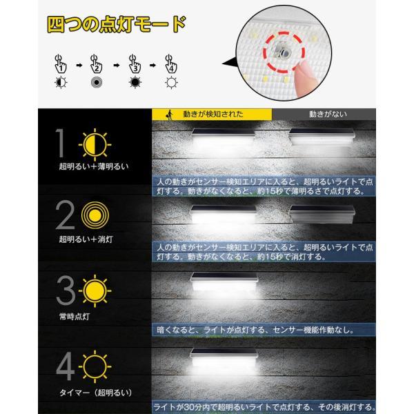 48個LED ソーラーライト 900lm マイクロ波人感センサー搭載 4種照明モード 防水防犯 屋外/玄関/芝生/車道/ガーデン/庭などに照明用|11oclock|08