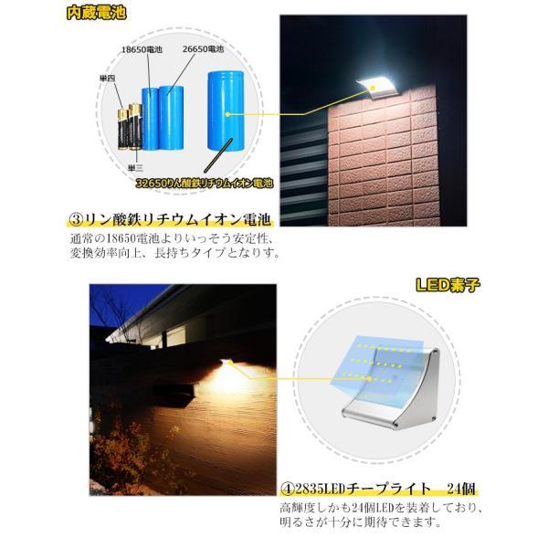 ソーラーライト 450lm マイクロ波人感センサー搭載 24個LED 4種照明モード 防水防犯 屋外/玄関/芝生/車道/ガーデン/庭などに照明用|11oclock|04