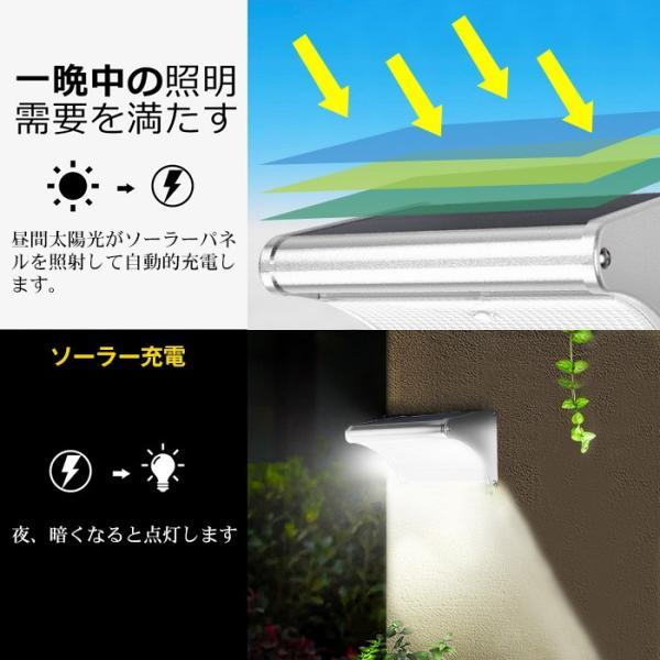ソーラーライト 450lm マイクロ波人感センサー搭載 24個LED 4種照明モード 防水防犯 屋外/玄関/芝生/車道/ガーデン/庭などに照明用|11oclock|05