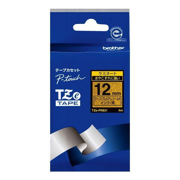 TZeテープ ピータッチ専用おしゃれテープ プレミアムタイプ(プレミアムゴールドテープ/黒字)12mm TZE-PR831