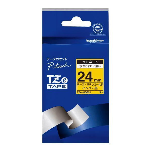 TZeテープ ピータッチ専用おしゃれテープ ラミネートつや消し(サテンゴールドテープ/黒字)24mm TZE-MQ851