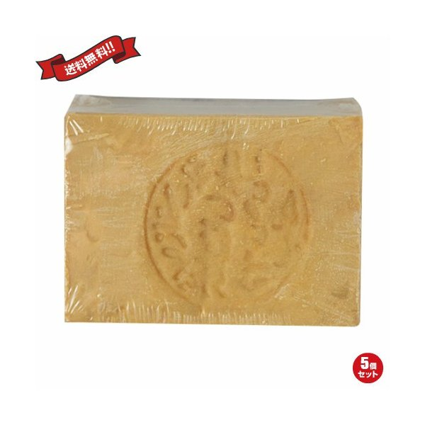 石鹸 洗顔石鹸 オリーブオイル アレッポの石けん (ノーマル) 200g 5個セット 送料無料