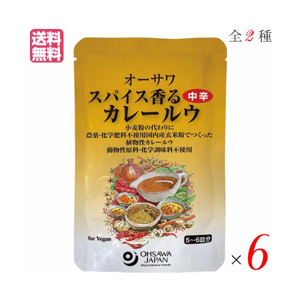 カレー カレー粉 カレールー オーサワ スパイス香るカレールウ 120g 全2種 選べる6袋セット 送料無料