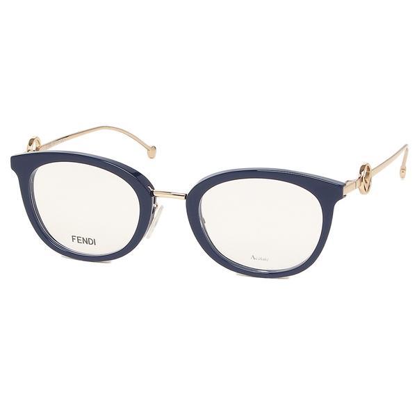 【返品OK】フェンディ 眼鏡フレーム アイウェア レディース エフイズフェンディ 51サイズ ネイビー アジアンフィット FENDI FF 0426/F PJP ボストン