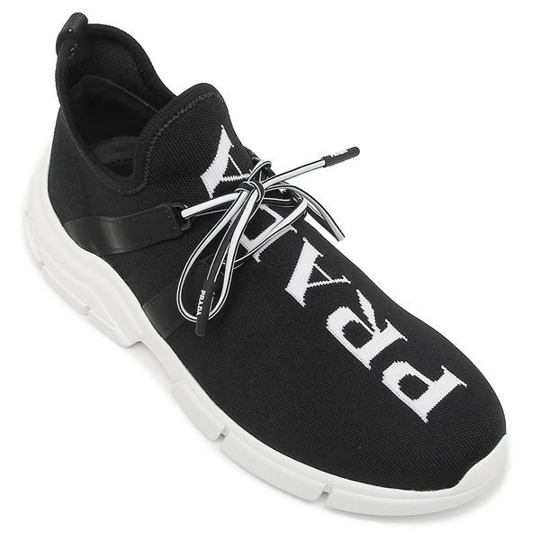 【返品OK】プラダ シューズ レディース ニットスニーカー インターシャロゴ 靴 ロゴ レースアップシューズ PRADA 1E344L 3V98 F0967 015 ブラック ホワイト