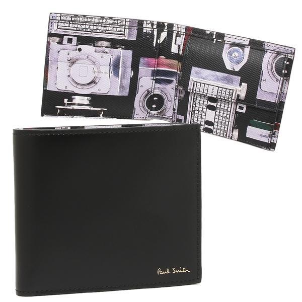 ポールスミス 折財布 メンズ PAUL SMITH 4833 A40245 PR ブラック マルチカラー|1andone