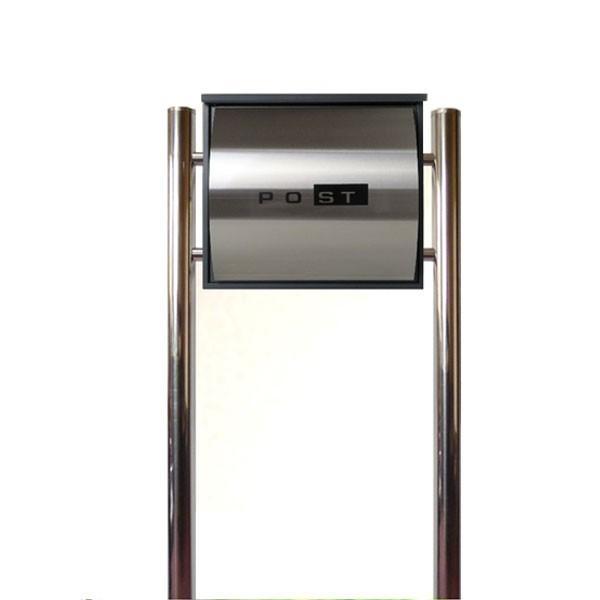 郵便ポストスタンド 郵便受けおしゃれ北欧大型メールボックス スタンド型鍵付マグネット付シルバーステンレス色ポストpm361s
