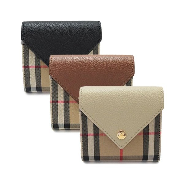 『Vintage Check and Grainy Leather Folding Wallet(80261151)』