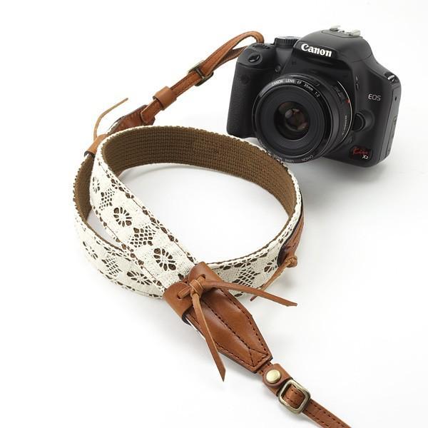 革×レース 3cm幅 カメラストラップ ブラウン