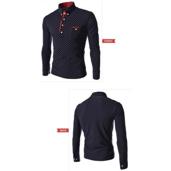 ゴルフウェア メンズ ポロシャツ 長袖 水玉|24store|11
