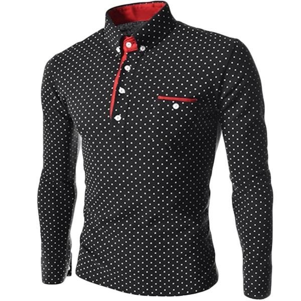 ゴルフウェア メンズ ポロシャツ 長袖 水玉|24store|04