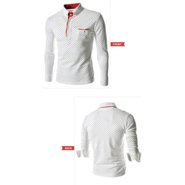 ゴルフウェア メンズ ポロシャツ 長袖 水玉|24store|07