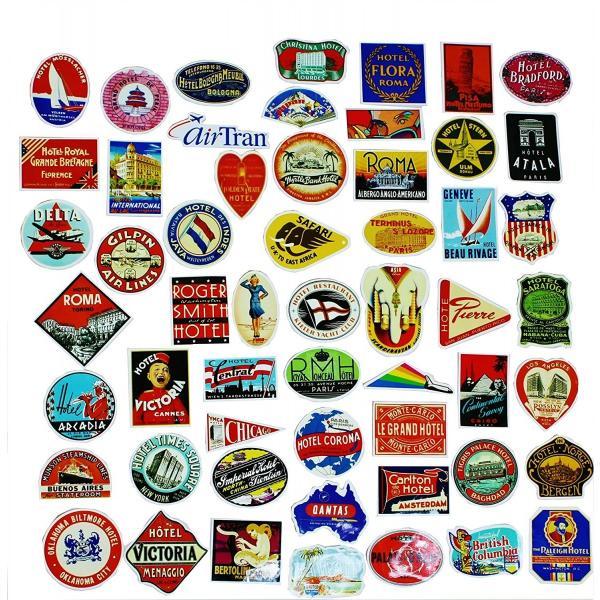 ラベル ステッカー ヴィンテージ 防水加工 大人気 スーツケース 空港 国旗 エアライン スケボー スノボー 55枚|24universe