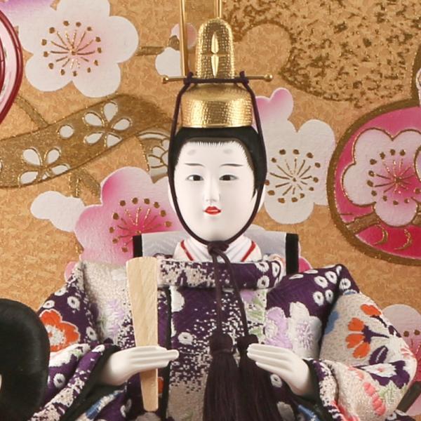 雛人形 コンパクト ひな人形 ケース飾り 五人飾り 藤翁作 舞姫 小三五五人 金襴仕立 アクリルケース オルゴール付 h303-fn-163-533|2508-honpo|04