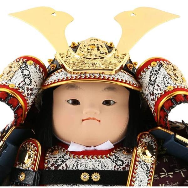 五月人形 幸一光 松崎人形 子供大将飾り 平飾り 駿 しゅん 黒小札 正絹 茜威 黒塗紗貼台 衝立屏風 鯉幟付 h315-koi-5425a|2508-honpo|04