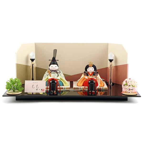 雛人形 幸一光 ひな人形 コンパクト 木目込み 平飾り 親王飾り もも 目入頭 正絹 黒艶塗台 h313-koi-4050 2508-honpo