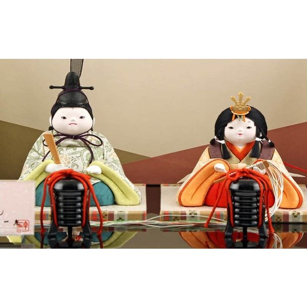 雛人形 幸一光 ひな人形 コンパクト 木目込み 平飾り 親王飾り もも 目入頭 正絹 黒艶塗台 h313-koi-4050 2508-honpo 03