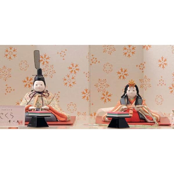 雛人形 幸一光 ひな人形 コンパクト 木目込み 平飾り 親王飾り さくら 目入頭 正絹 ペーパーウッド台 h313-koi-4200|2508-honpo|03