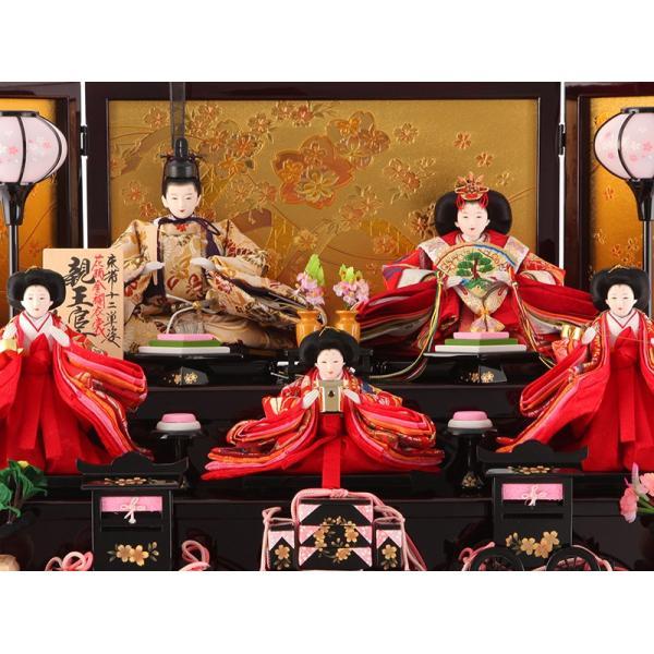 雛人形 久月 ひな人形 雛 コンパクト収納飾り 三段飾り 五人飾り 束帯十二単姿 花柄金襴衣裳 ワイン塗 金桜 h303-kcp-s30240nr 2508-honpo 03