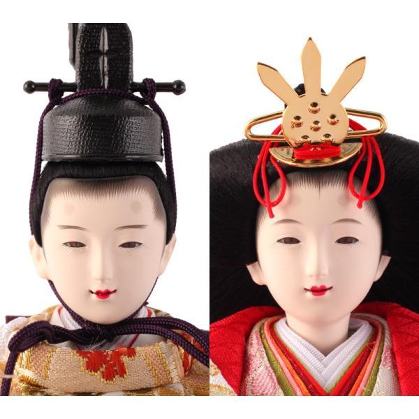 雛人形 久月 ひな人形 雛 コンパクト収納飾り 三段飾り 五人飾り 束帯十二単姿 花柄金襴衣裳 ワイン塗 金桜 h303-kcp-s30240nr 2508-honpo 05