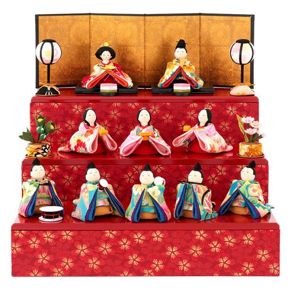 雛人形 コンパクト ひな人形 雛 三段飾り 十人飾り 彩り友禅雛 h283-rk-1-0682|2508-honpo