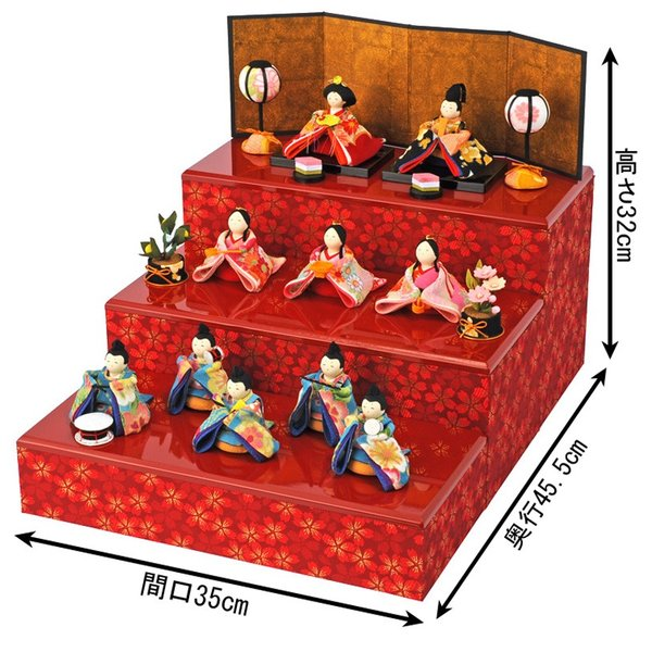 雛人形 コンパクト ひな人形 雛 三段飾り 十人飾り 彩り友禅雛 h283-rk-1-0682|2508-honpo|02