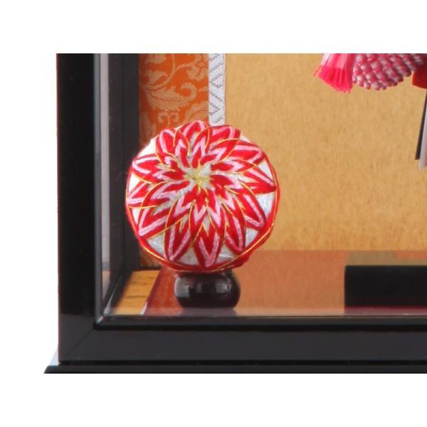 羽子板 正月飾り ケース飾り 正絹造り 小雪輪枝桜 赤 10号 黒溜りケース h291-skt-10-bl10|2508-honpo|05
