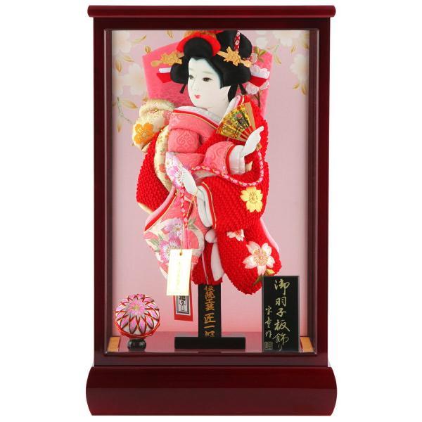 羽子板 正月飾り ケース飾り 正絹造り 極上桜 赤 10号 赤溜りケース h291-skt-10-red10|2508-honpo