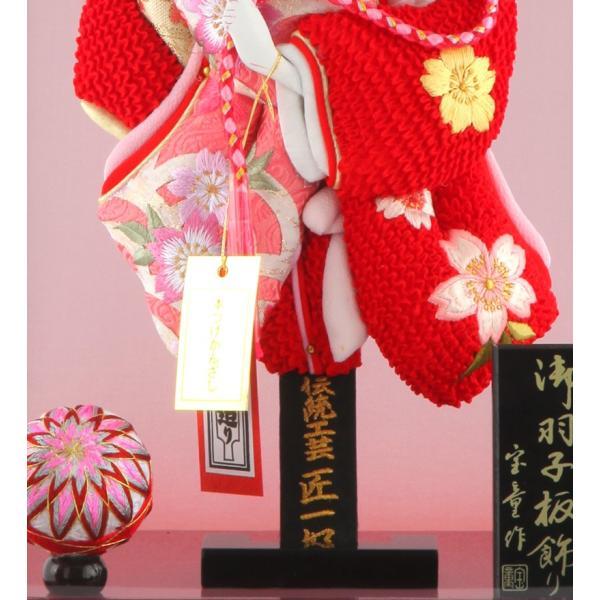 羽子板 正月飾り ケース飾り 正絹造り 極上桜 赤 10号 赤溜りケース h291-skt-10-red10|2508-honpo|04